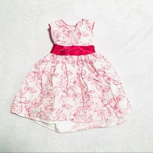 ✨3/$15 Girls George White and Pink Dress 24M